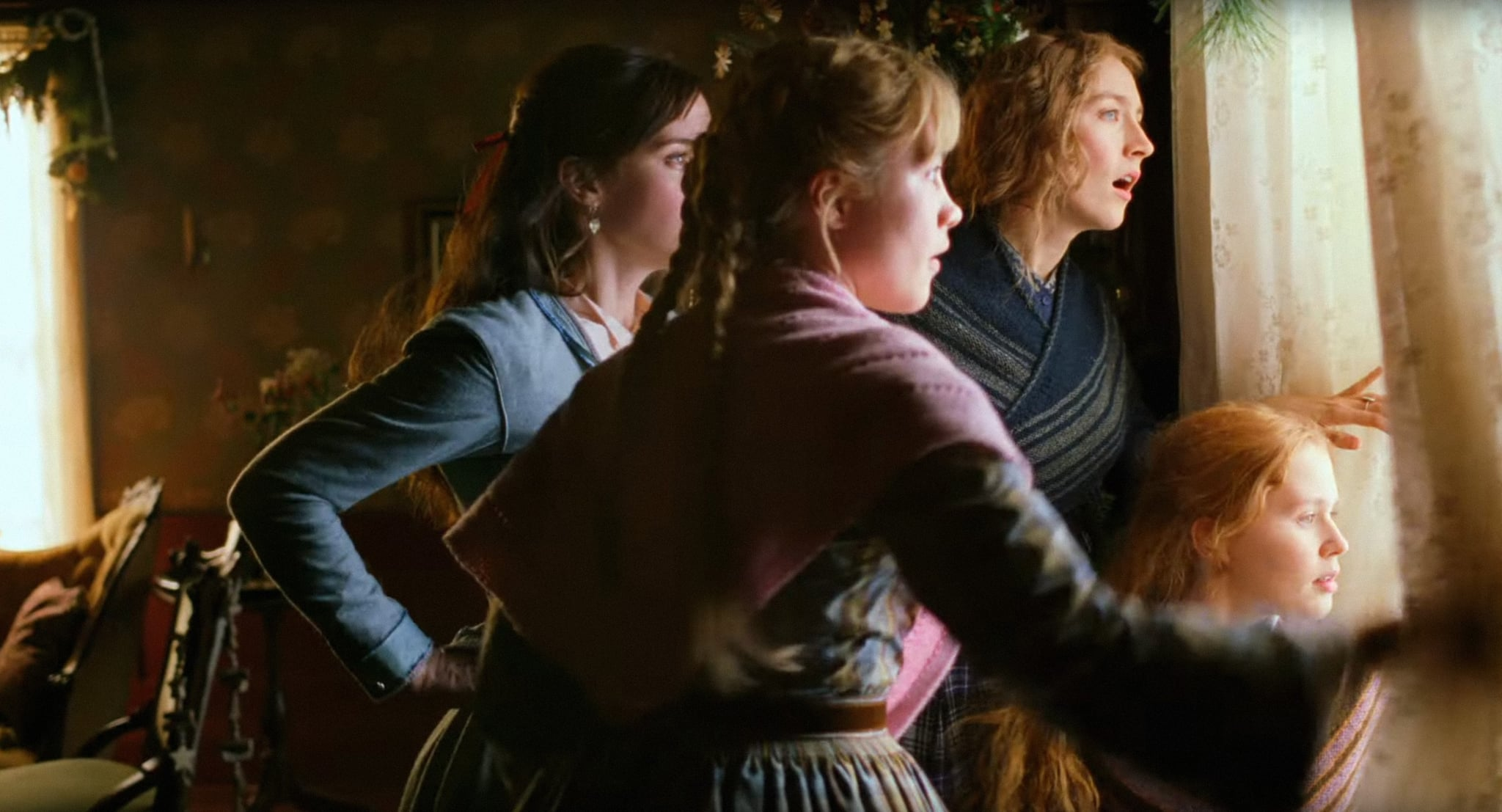 LITTLE WOMEN, from left: Emma Watson as Meg, Florence Pugh as Amy, Saoirse Ronan as Jo, Eliza Scanlen as Beth, 2019.  Columbia Pictures / courtesy Everett Collection