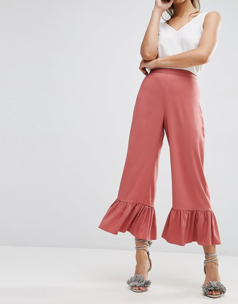 """If I have to start wearing pants, let it be this fluid ankle-grazing pair ($52). What initially attracted me to the bottoms was the dusty rose color and I was pleasantly surprised by how much I love the frilled hem."" — ML"