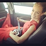 Cat Deeley buckled up on her way to the show.  Source: Instagram user catdeeley