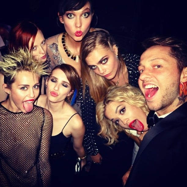 Miley Cyrus, Emma Roberts, Rita Ora, Cara Delevigne, and more got the Met Gala afterparty started. Source: Instagram user derekblasberg