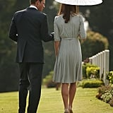 Prince William and Kate walked together at a Word War II memorial in Singapore.