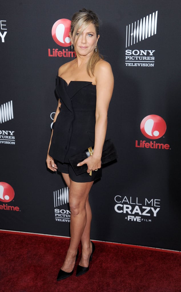 Jennifer Aniston showed off her stems in a Christian Dior bustier and shorts set at the premiere of Call Me Crazy.