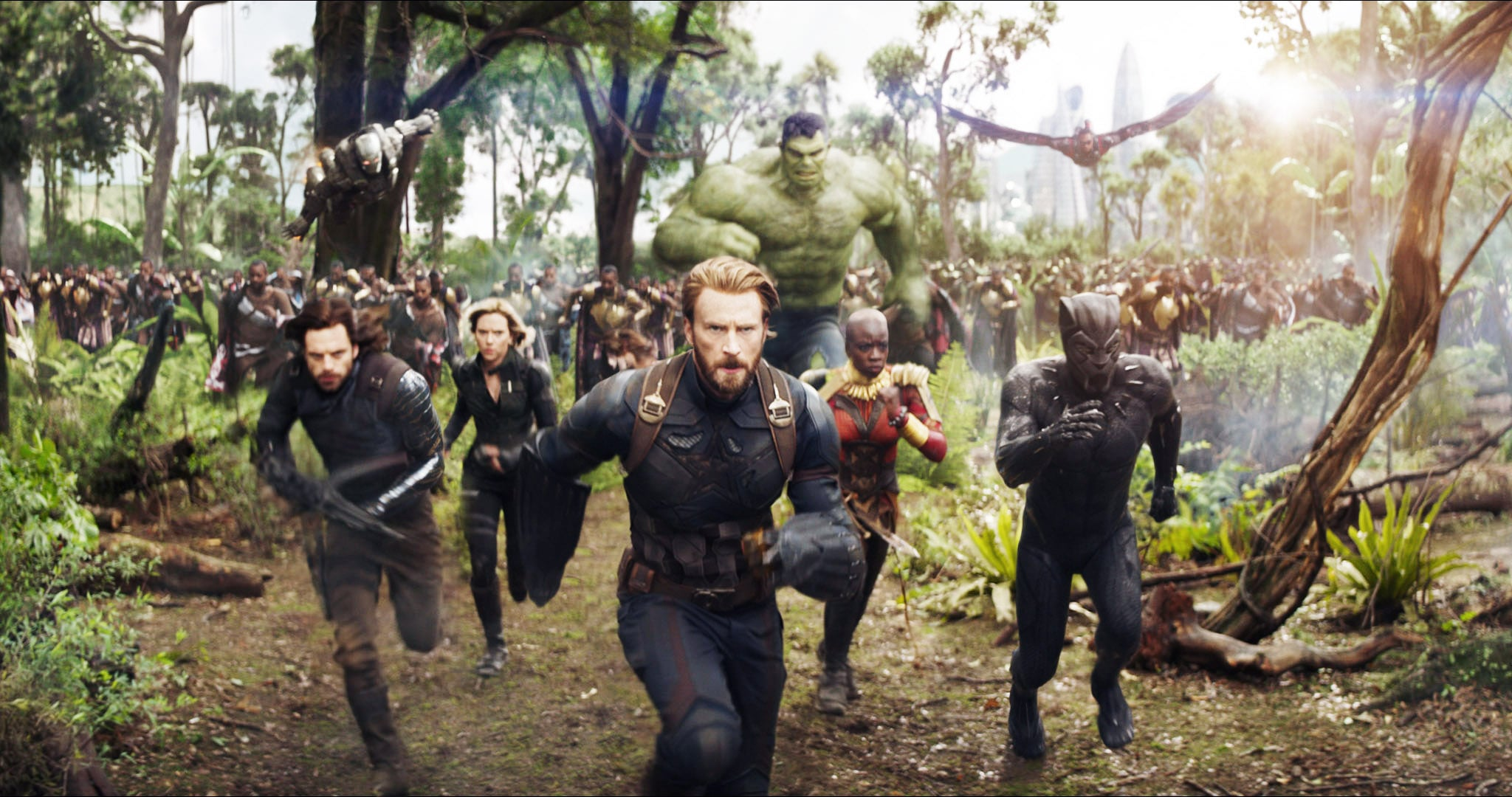 AVENGERS: INFINITY WAR, from left: Don Cheadle as War Machine, Sebastian Stan as Winter Soldier, Scarlett Johansson as Black Widow, Chris Evans as Capt. America, Mark Ruffalo as Hulk, Danai Gurira, top  right: Anthony Mackie as Falcon, Chadwick Boseman as Black Panther, 2018.  Marvel/  Walt Disney Studios Motion Pictures /Courtesy Everett Collection