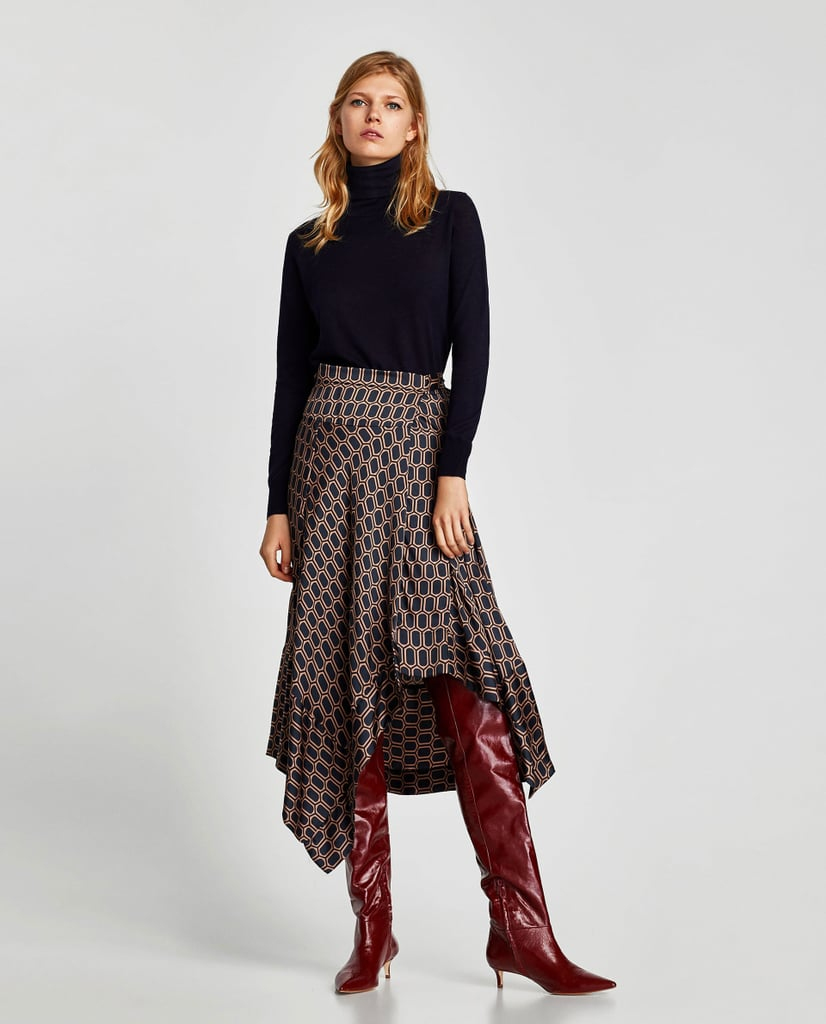 Zara Gathered Leather Over-the-Knee High Heel Boots