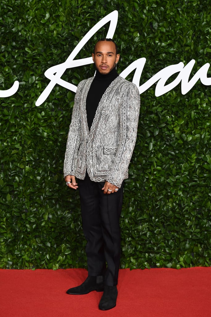 Lewis Hamilton at the British Fashion Awards 2019