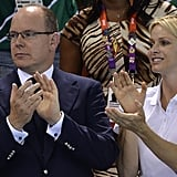 Princess Charlene, who competed in the 2000 Olympics, cheered on this year's swimmers.