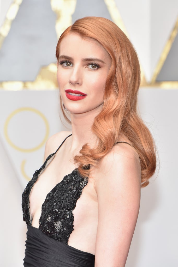 Emma Roberts Peach Red Hair Oscars Red Carpet 2017