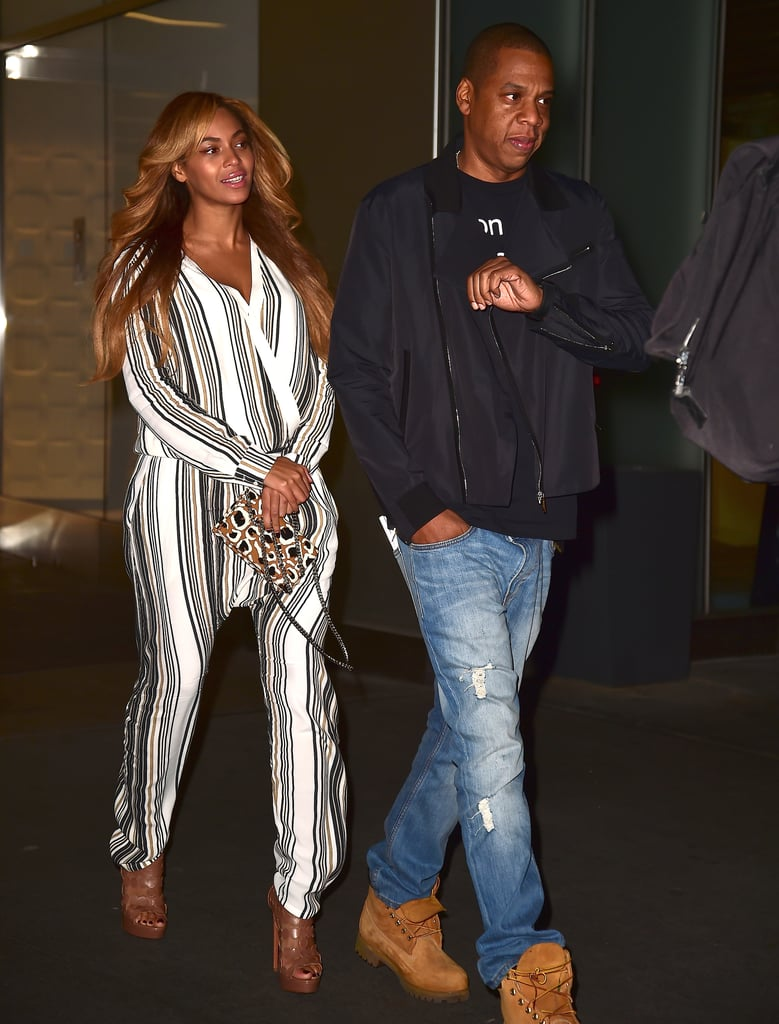Out in NYC in 2014, Jay Z kept it simple and Beyoncé stole the show in understated but still standout stripes.
