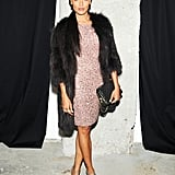 Selita Ebanks at the Alice + Olivia by Stacey Bendet Night of Fashion, Art, and Disco Dancing.