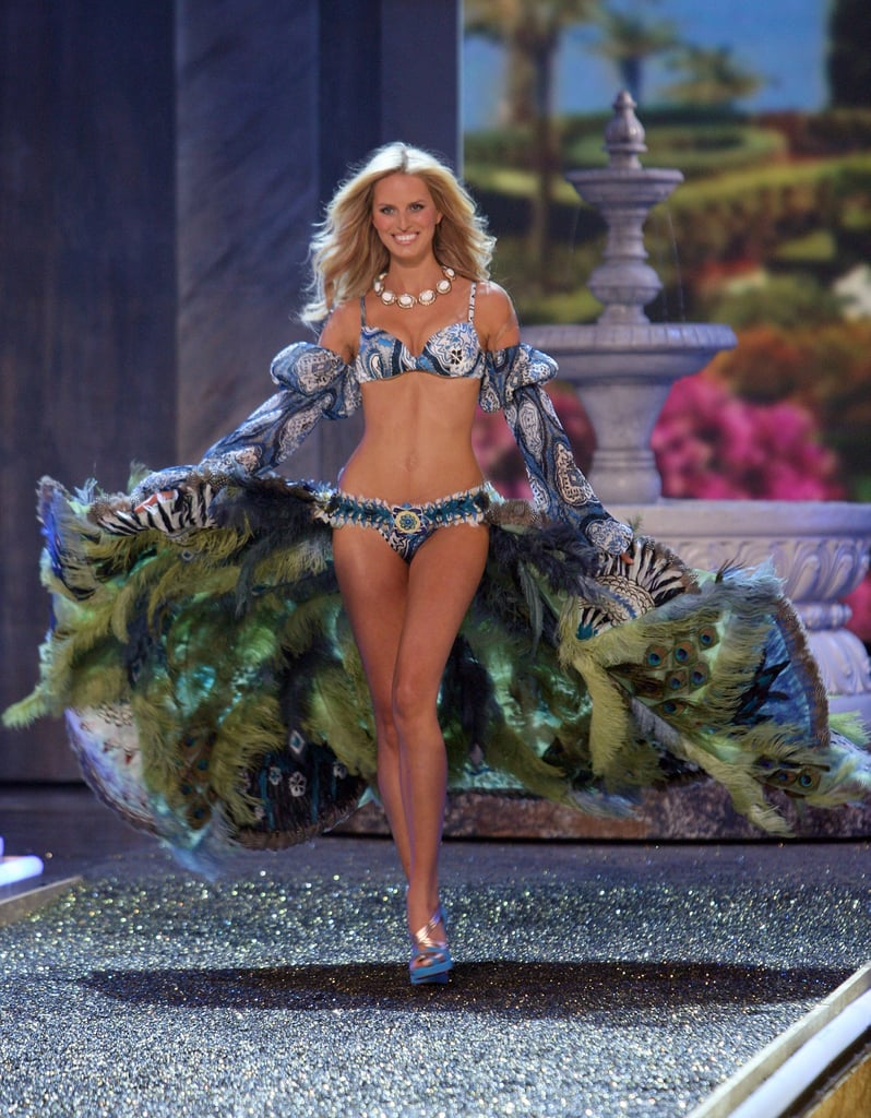 Karolina Kurkova donned Swarovski-covered peacock feathers on the runway in 2007.