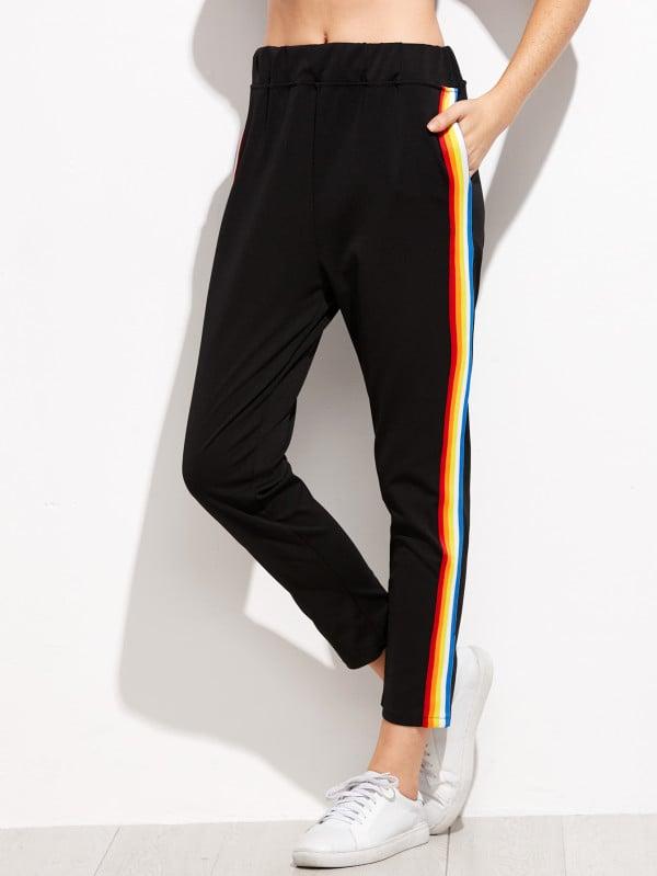 Shein Contrast Rainbow Stripe Pants
