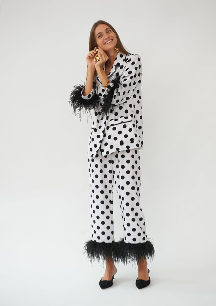 Sleeper Party Pajama Set with Feathers in Black