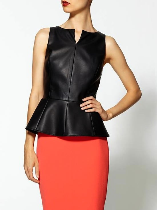 Combine two trends (peplum and leather) with this black vegan leather top ($50, originally $89).