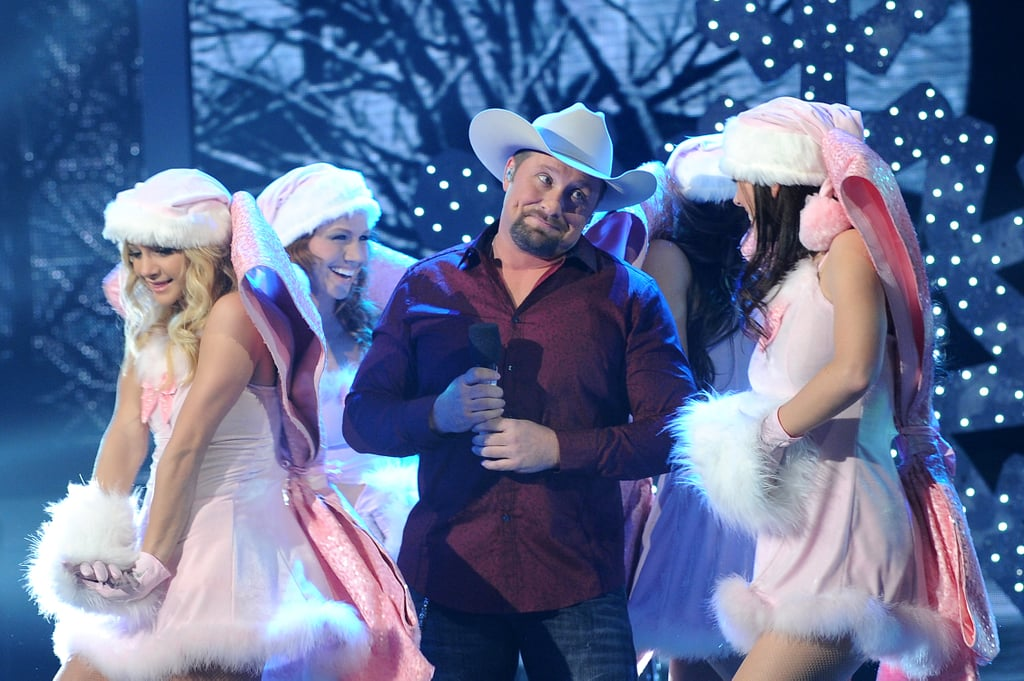 Tate Stevens performed a country number with some sexy pink Santas.