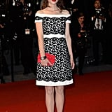 Astrid Bergès-Frisbey picked an off-the-shoulder black and white Chanel Haute Couture dress and Chanel Fine Jewelry for the premiere of Only God Forgives.