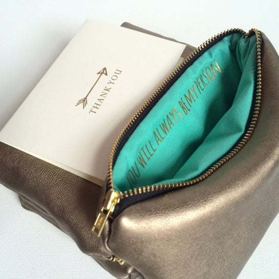 """""""You're My Person"""" Gold Leather Zipper Pouch"""