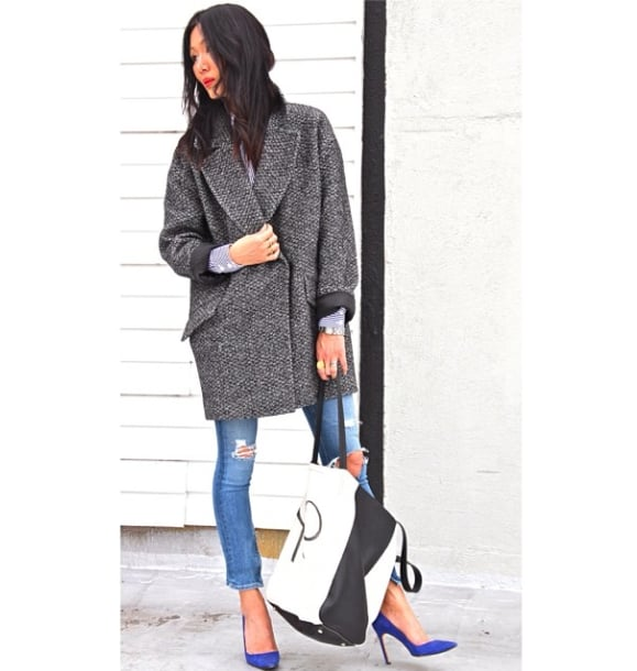 "We're already excited just thinking that the coat Marissa showed off might be a piece of the Banana's Fall line: ""Graphic Saturday. #sneakpeek w/ @bananarepublic of things to come #ootd #xomarissa"".  Source: Instagram user marissawebb"