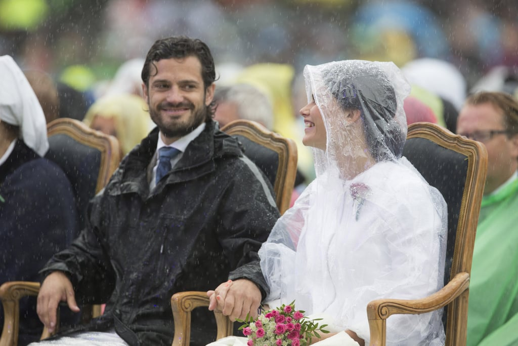 The couple didn't let a little rain ruin their day while celebrating Princess Victoria's 37th birthday in July 2014.