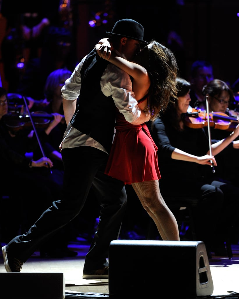 Jenna Dewan wore a red dress while husband Channing Tatum wore a porkpie hat for their performance at the Revlon Concert for the Rainforest Fund at Carnegie Hall in NYC.