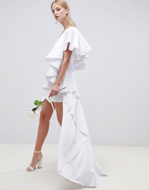 Asos Edition Asymmetric Ruffle Wedding Dress