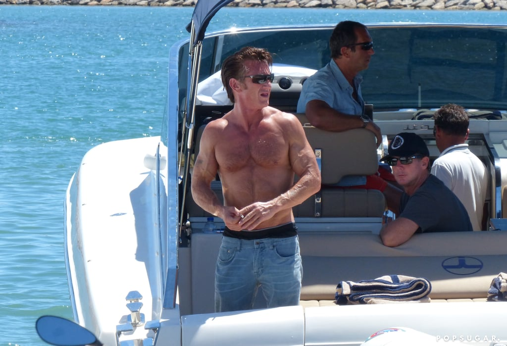 Sean Penn showed off his muscles in August in Ibiza.
