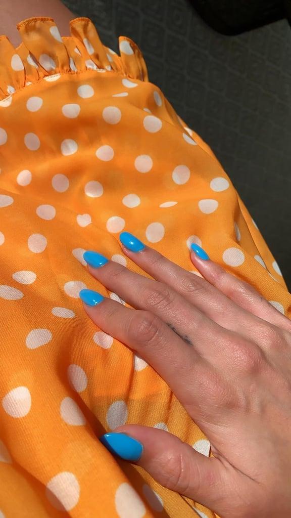 Hailey Bieber's Sky-Blue Manicure