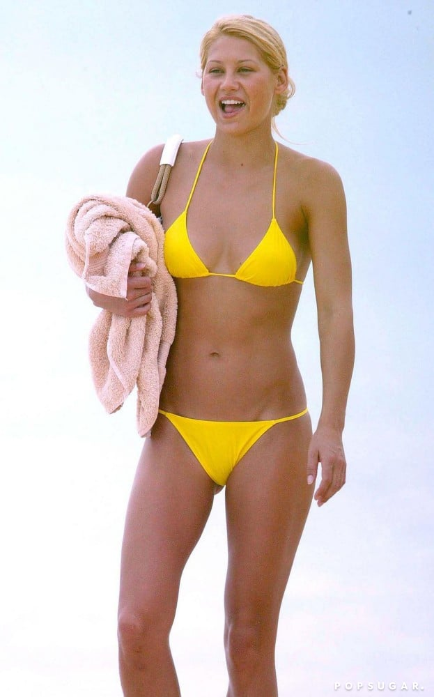 In January 2005, Anna Kournikova wore a bright yellow bikini to show off her figure during a getaway to St. Barts.