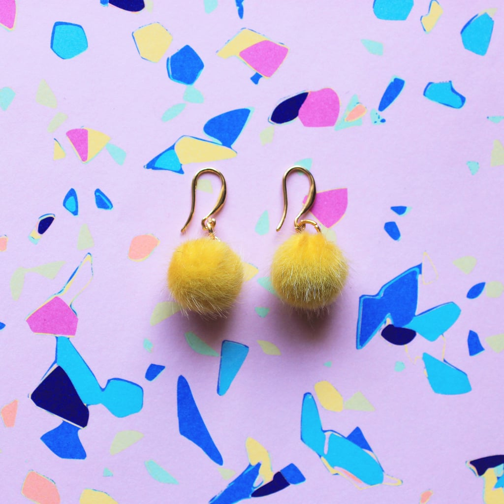 Yellow Mini Pom-Pom Earrings |