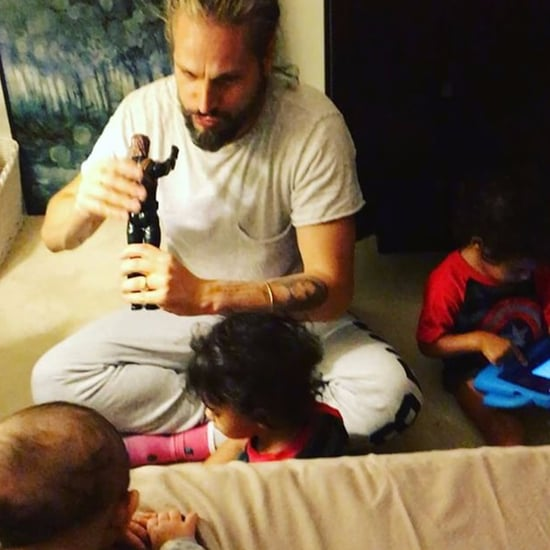 Zoe Saldana's Husband Playing With Kids March 2017