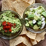 Bench: Creamy or Cheesy Dips Start: Black Bean Dip, Hummus, and Slimmed-Down Guac Black bean dip and hummus are low in saturated fat and provide filling protein and fiber. Since it's not a Super Bowl party without guac, I lighten up traditional guacamole by infusing more veggies to balance out the fat from the avocados. Here's my favorite skinny guac recipe, which contains an extra dose of tomatoes.