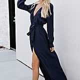 Angashion Wrap Slit Maxi Dress
