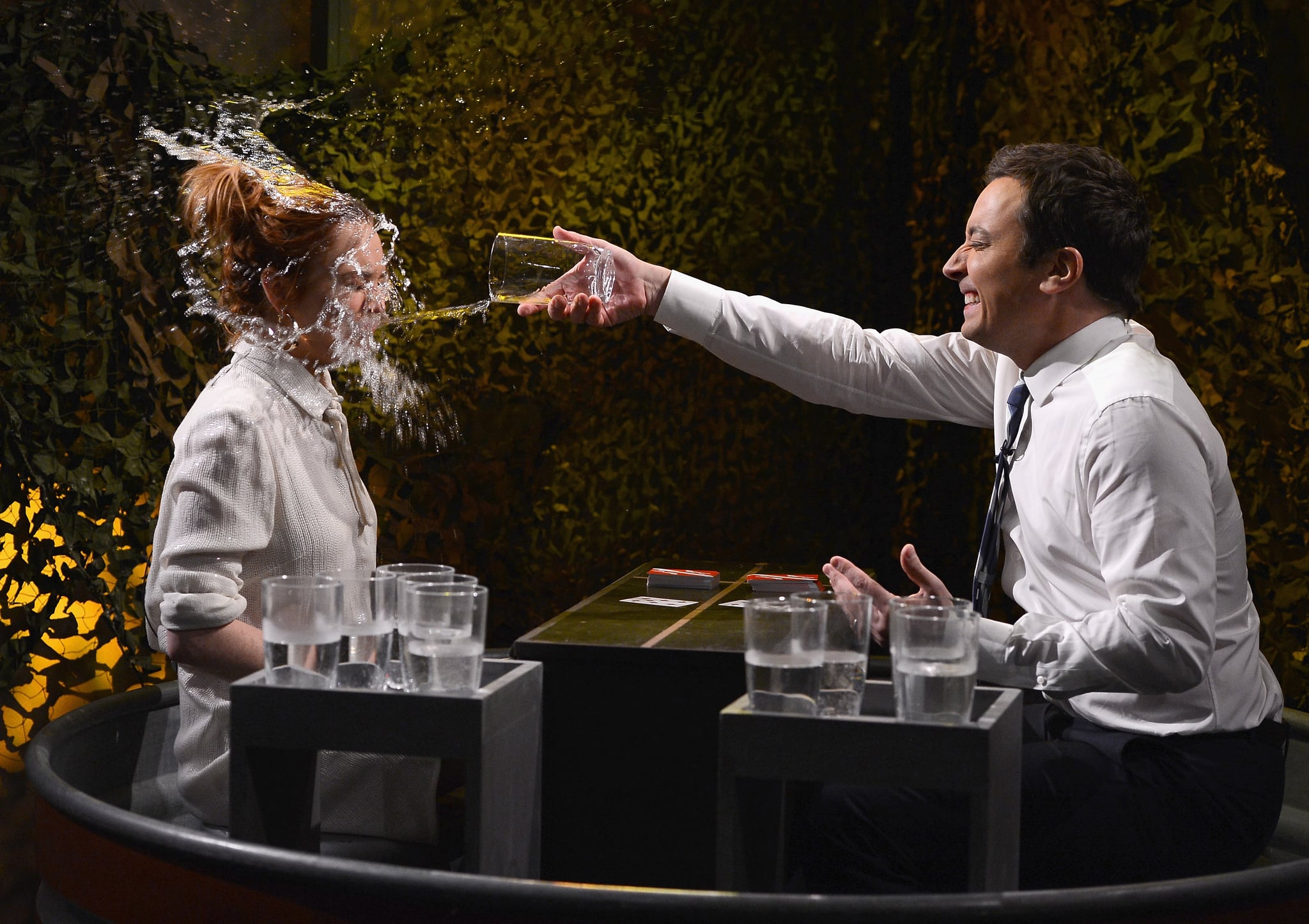 Lindsay Lohan appeared on The Tonight Show Starring Jimmy Fallon for a little game of water war.