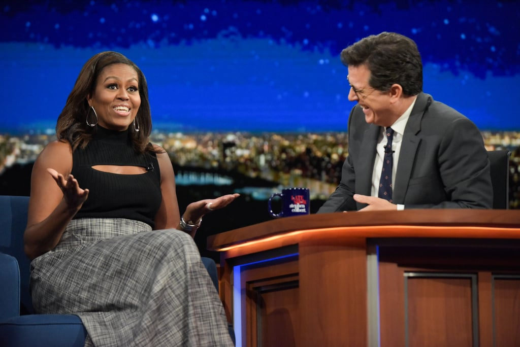 Michelle Obama S Cutout Top On Stephen Colbert 2016