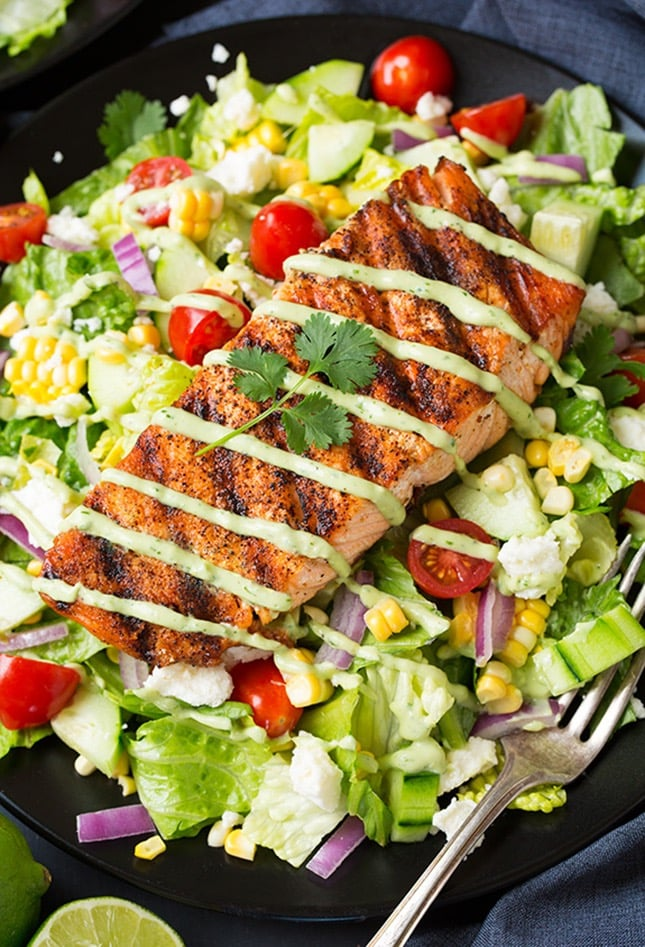 Mexican Grilled Salmon Salad With Avocado Greek Yogurt Ranch