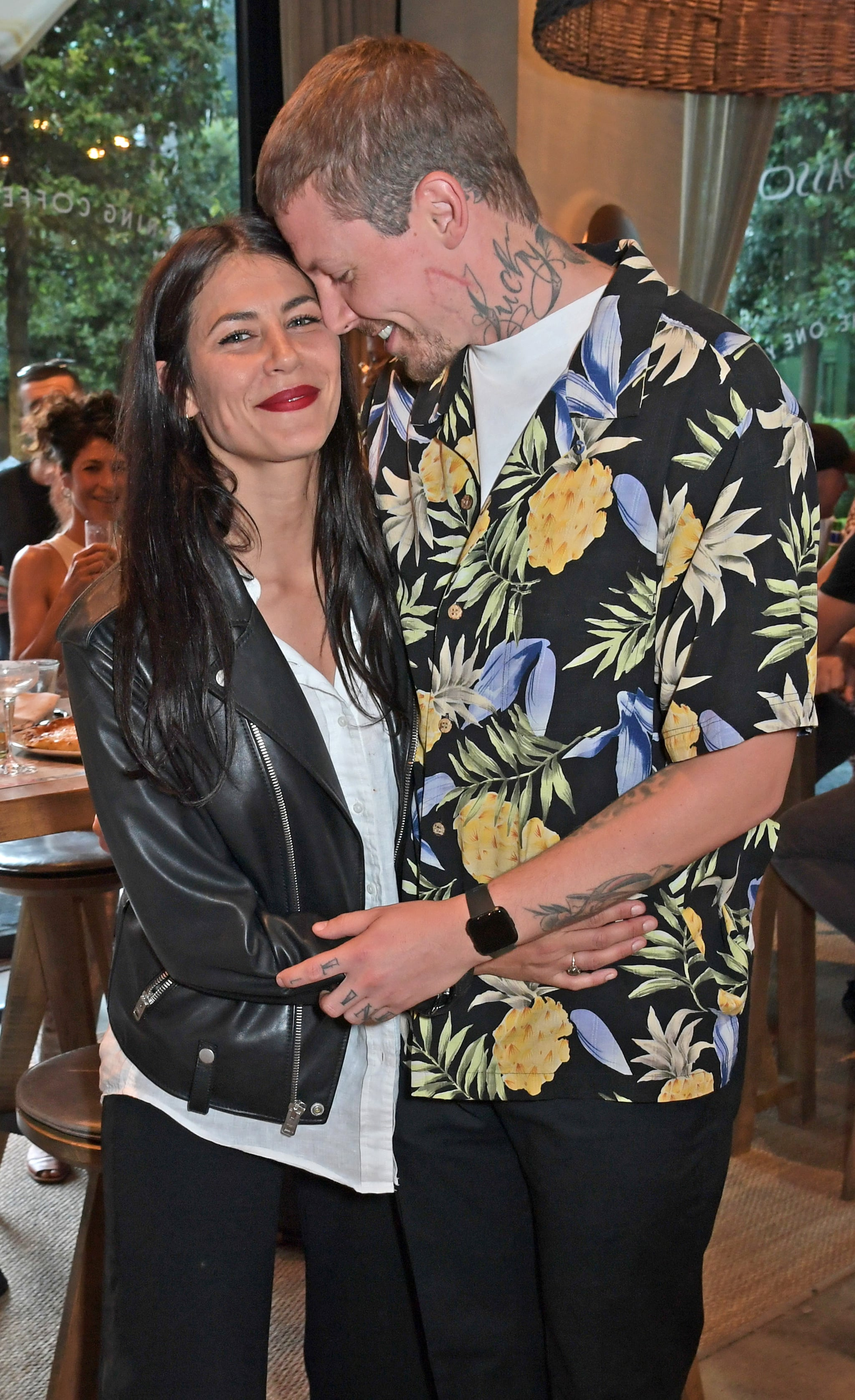 LONDON, ENGLAND - JULY 17:  Karima McAdams and Professor Green attend the launch of Giz & Green Pizza Pies Pop-Up at Passo on July 17, 2020 in London, England. (Photo by David M. Benett/Dave Benett/Getty Images for PASSO)