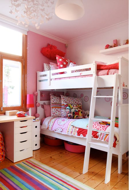 Modern Girls Pink Shared Bedroom | Design Tips For Bunk ...