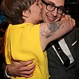 Lena Dunham kissed boyfriend Jack Antonoff of fun. backstage at the Grammys on Sunday night.
