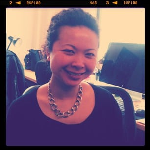 Chi Chau completes her Friday look with a sweet chain-link necklace from Bing Bang.