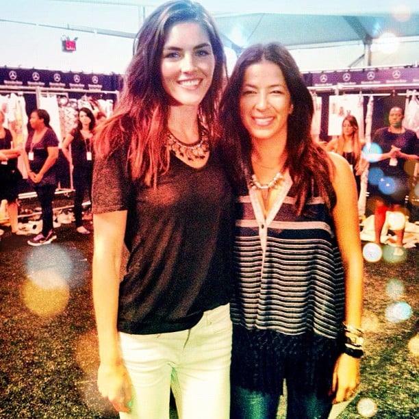 Hilary Rhoda posed with Rebecca Minkoff after walking in the designer's runway show. Source: Instagram user hilaryhrhoda