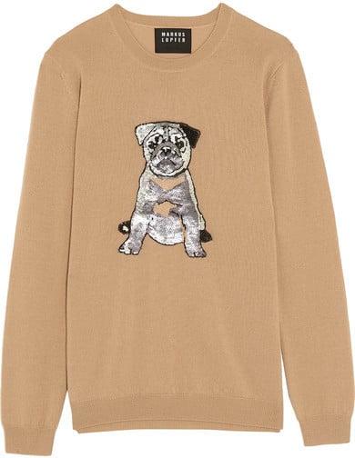 Markus Lupfer Natalie Pug Sequin-Embellished Merino Wool Sweater ($380)