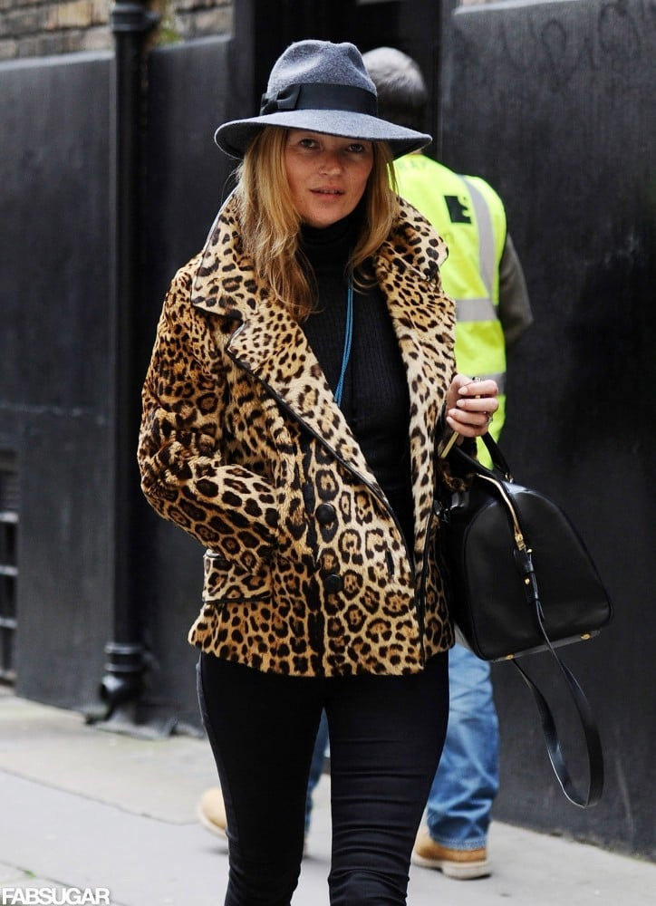 Kate Moss Can't Be Stopped — See How She Pumps Up Her Look With Leopard