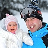 William and Charlotte kept close during a family ski trip in France.