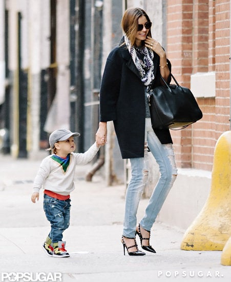 Miranda Kerr brought along son Flynn Bloom to run errands in NYC.