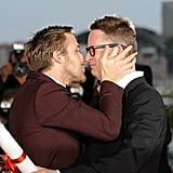 Ryan Gosling gave director Nicolas Winding Refn a congratulatory  kiss at he was awarded the best director fat the 64th Cannes Film Festival in 2011.