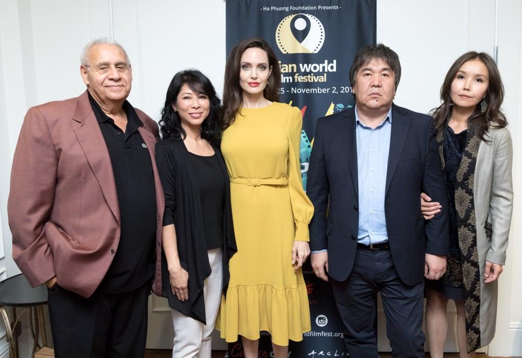 Angelina Jolie's Yellow Co Dress