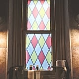 All the windows are covered with faux-stained-glass decals to give it more of that Hogwarts touch.