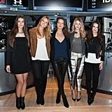 قرعت جيجي وزميلاتها ناتاشا بارنارد، وكيت بوك، وإيميلي دي دوناتو، وإميلي راتاجكوفسكي جرس الإغلاق في بورصة نيويورك عام 2014، وبدت جيجي مرتاحةً بإطلالة اعتياديّة في سروال مصبوغ.