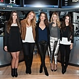 Gigi and fellow models Natasha Barnard, Kate Bock, Emily DiDonato, and Emily Ratajkowski rang the closing bell at the New York Stock Exchange in 2014, and Gigi looked comfortable and casual in tie-dye pants.