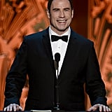 John Travolta spoke at the AFI Life Achievement Award dinner honoring Shirley MacLaine in LA.