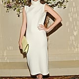 Nora Zehetner donned a white turtleneck dress, nude lace-up sandals, and an eggshell-yellow clutch at the New Museum Spring gala. Source: Neil Rasmus/BFAnyc.com